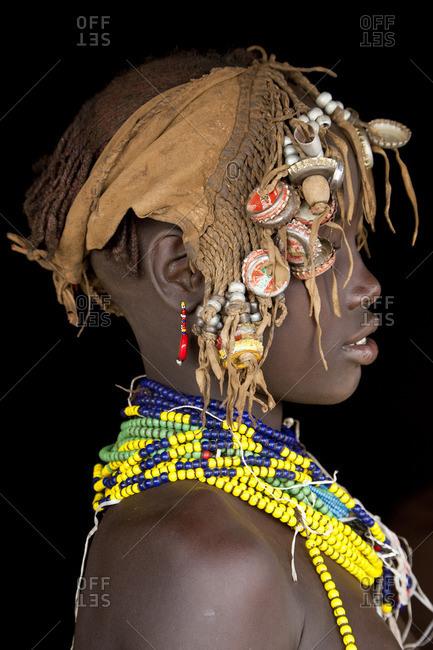 Omo Valley, Ethiopia - January 26, 2009: Dassenech girl, Omo Valley, Ethiopia