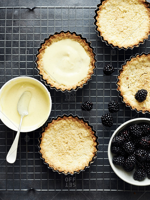 Fresh blackberry and vanilla custard tarts on a baking rack