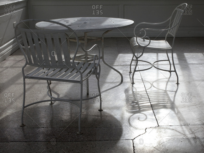 A set of weathered patio furniture