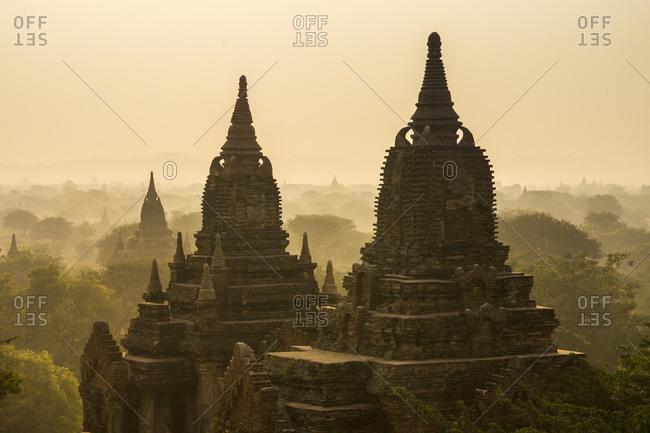 Temples at sunrise in Bagan, Myanmar