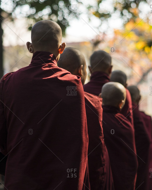 Novice monks lined up for lunch in Myanmar