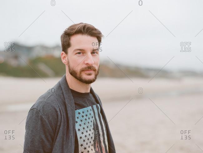 Man with beard on a beach