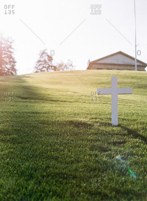 A cross in Arlington National Cemetery