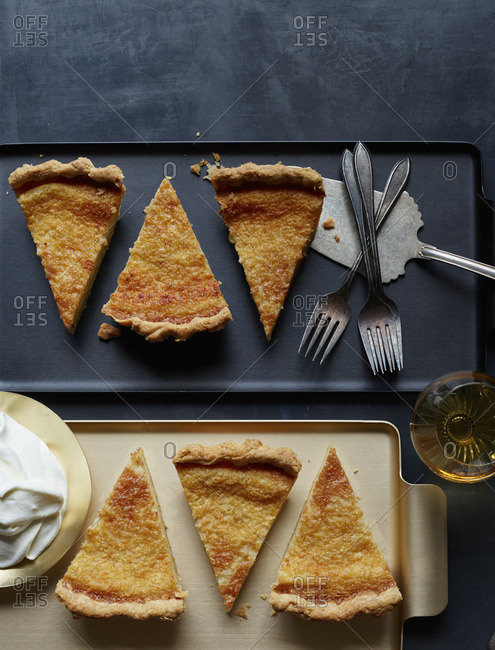 Eggnog buttermilk pie slices