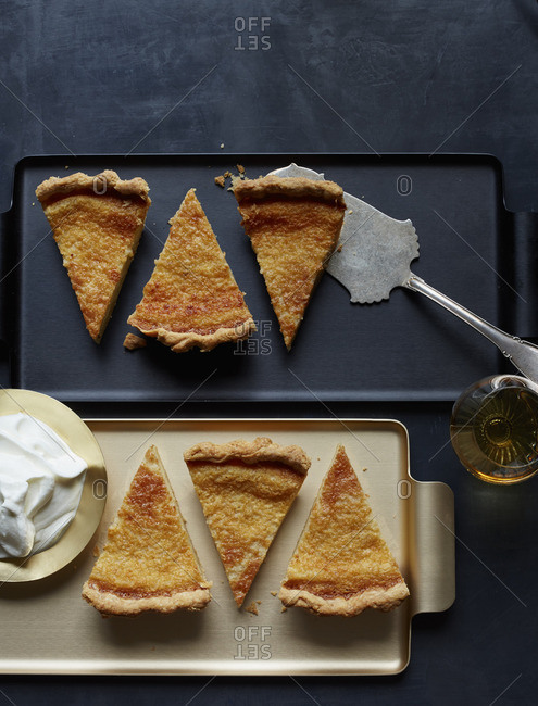 Eggnog buttermilk pie pieces