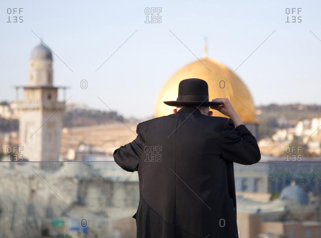 Jewish man looking out at Jerusalem