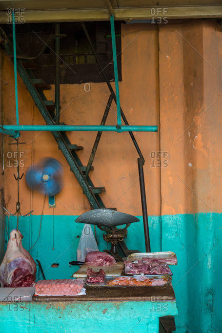Meat on butcher counter, Havana, Cuba