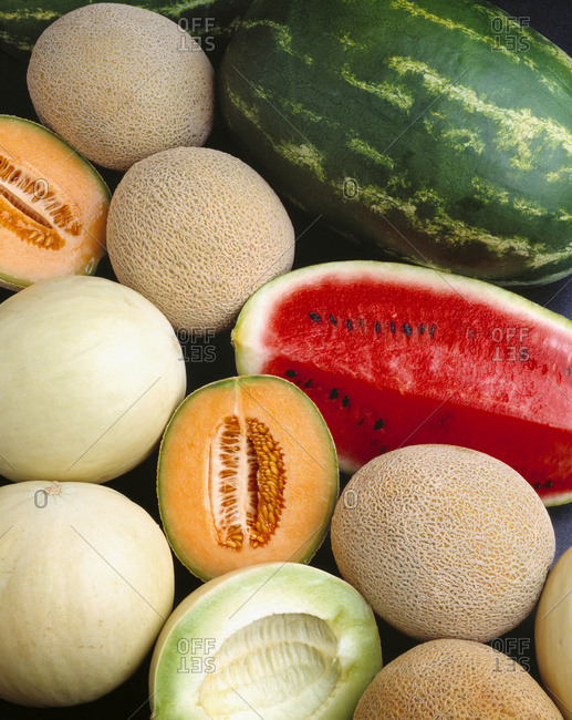 Mixed melons, watermelon, cantaloupe and honeydew
