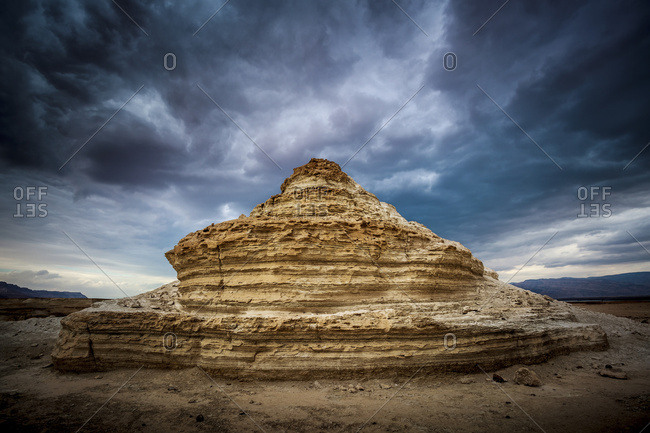 A rock formation in the wilderness located in the Jordan Valley near the Dead Sea