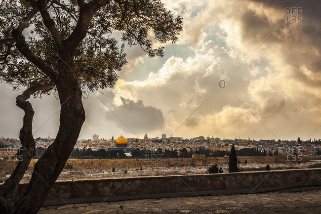 View looking across from the Mount of Olives toward the Eastern Gate of the old city of Jerusalem
