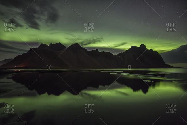 Northern Lights over Vestrahorn, Southern Iceland