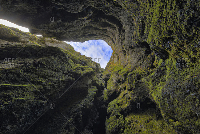 Looking straight up out of a chasm on Iceland's Snaefellsness Peninsula