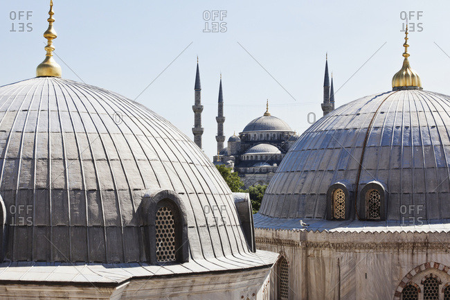 View of Blue Mosque from Aya Sofia window in Sultanahmet, old city of Istanbul