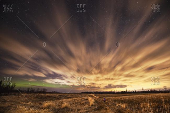 Night sky with aurora borealis
