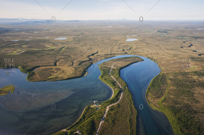 Aerial view of Naknek River in Southwest Alaska