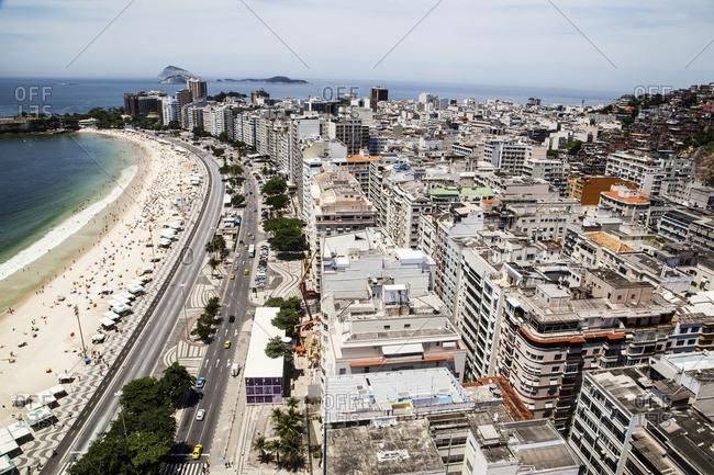 Rio de Janeiro, Brazil - November 13, 2015: The view of Copacabana beach from above looking towards Ipanema