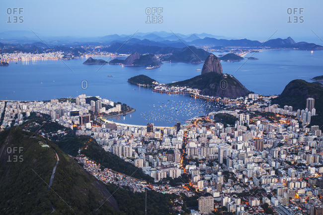 Dusk falls on Rio de Janeiro as viewed from Corcovado