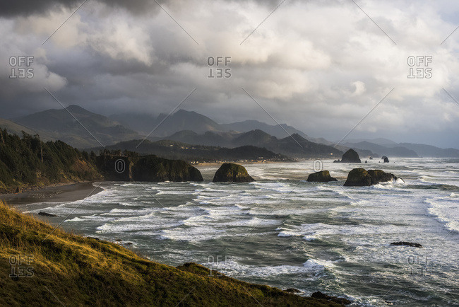 Clouds hang low over the Oregon Coast