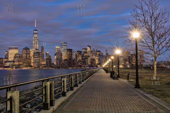 Manhattan skyline at twilight from Liberty State Park