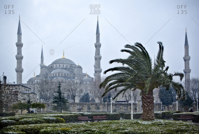 The Blue Mosque in winter a winter storm