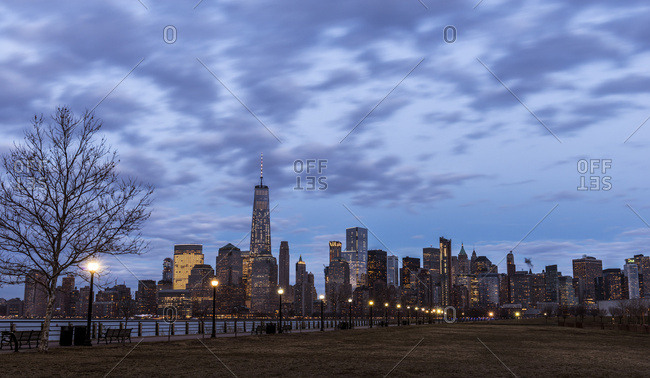 Manhattan skyline in the evening from Liberty State Park