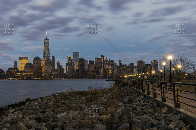 Manhattan skyline at dusk from Liberty State Park