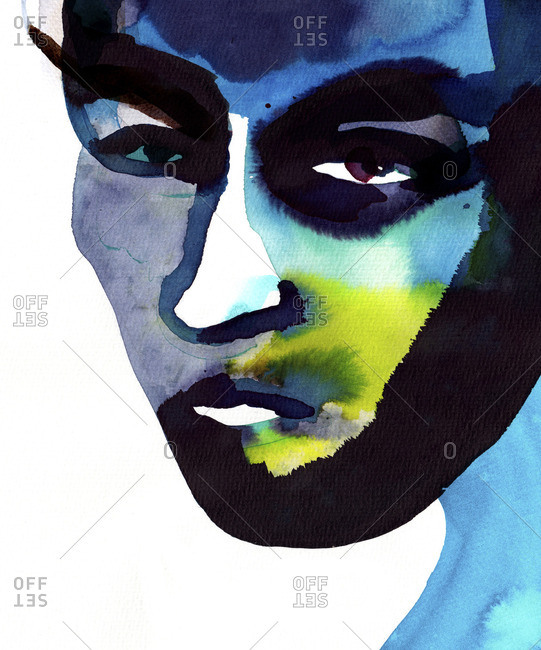 Colorful face portrait in blue tonality