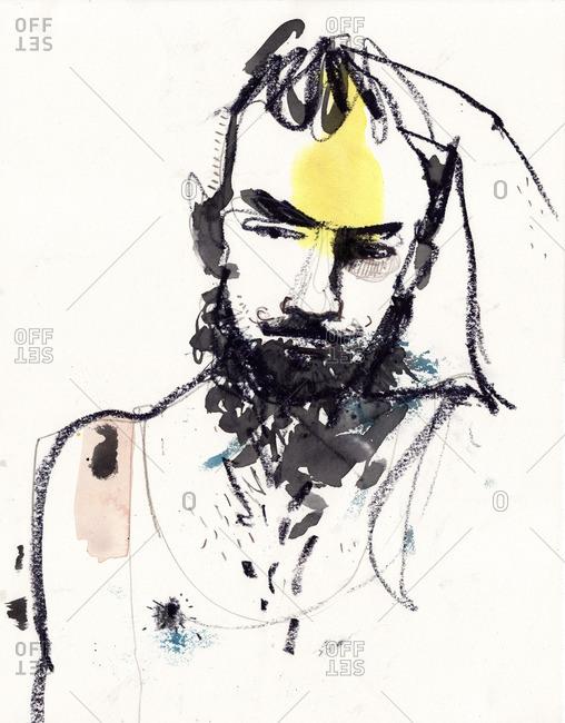 Bearded man looking despaired grabbing in his head