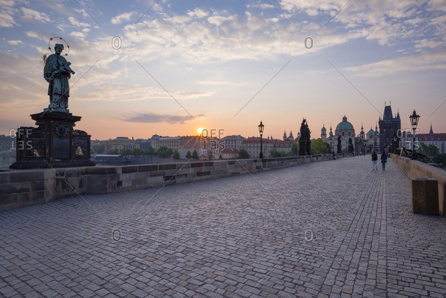 Czechia, Prague, Old town, view to Charles Bridge and Old Town Bridge Tower at sunset