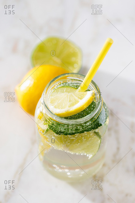 Elevated view of sparkling water with lemon and mint