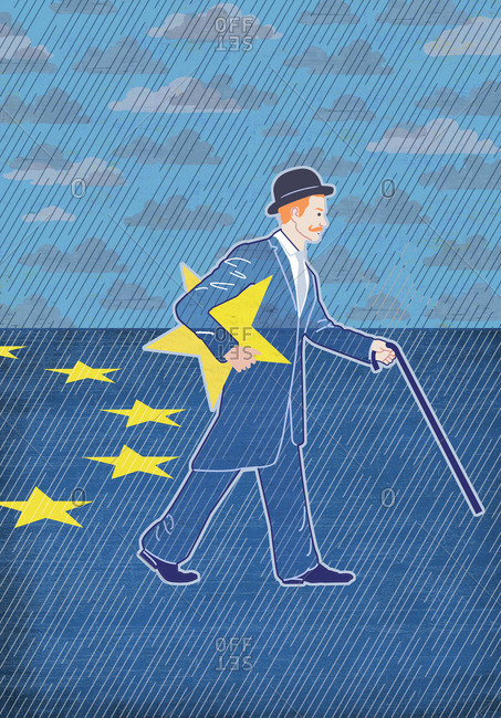Englishman walks with EU star