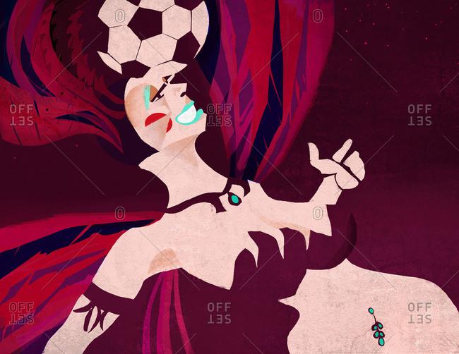 Samba dancer hitting a soccer ball with her head