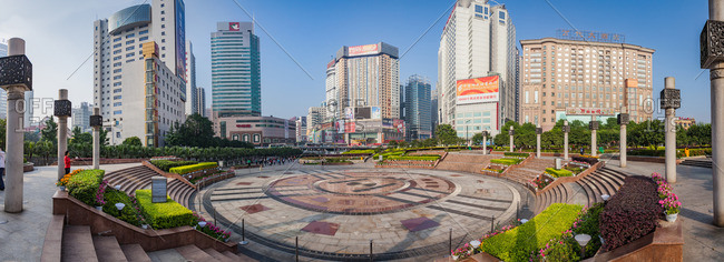 Changsha, China - May 19, 2009: A panoramic view of a large public plaza with manicured landscaping