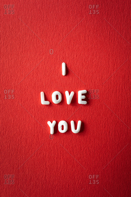 I love you on red background