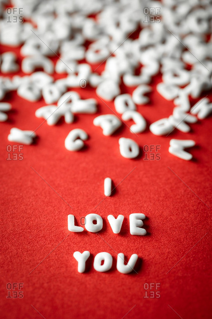 Love message and scattered letters