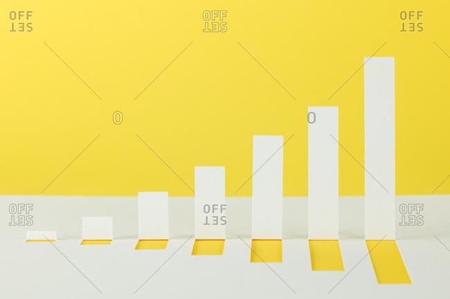Yellow and white bar chart