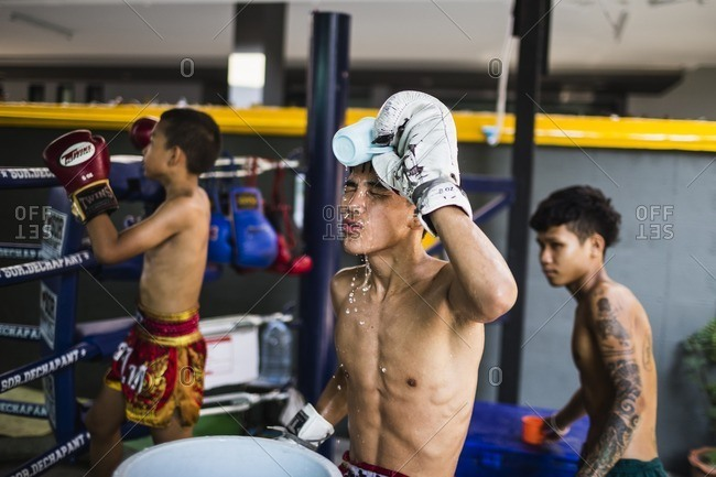 Bangkok, Thailand - April 27, 2016: Men training in combat sports, Bangkok