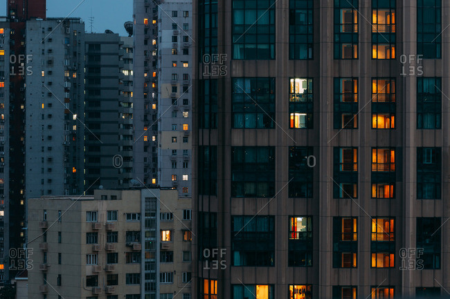 Buildings at dusk in Shanghai, China