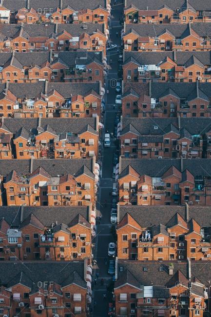 Aerial view of a Shanghai neighborhood