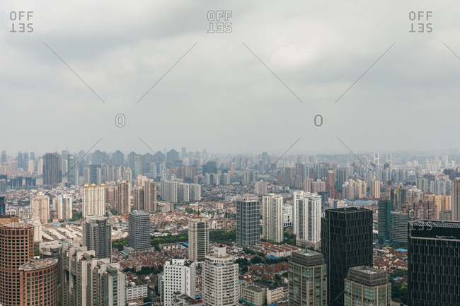 June 19, 2015: Buildings in downtown Shanghai, China