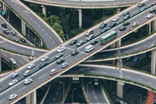 June 19, 2015: Highway running through downtown Shanghai, China