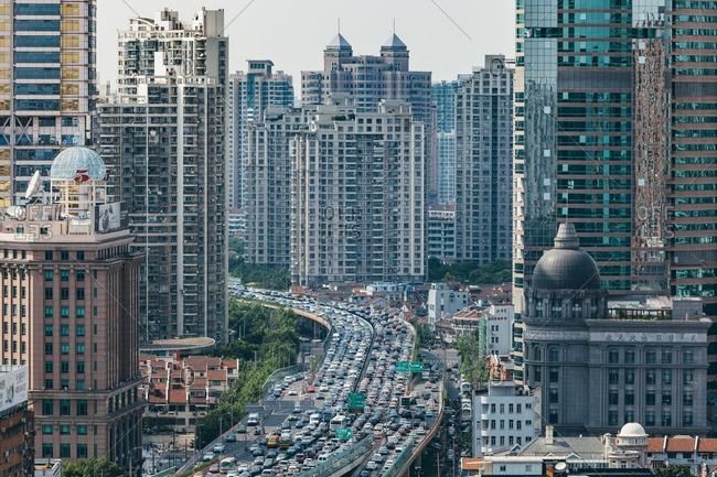 June 19, 2015: Traffic jam in Shanghai, China