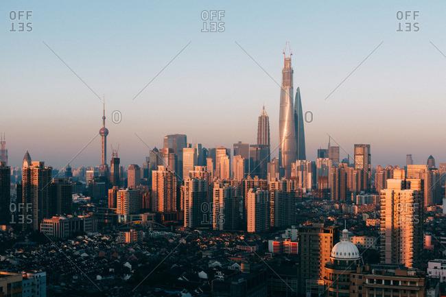 January 23, 2014: Shanghai skyline at dusk