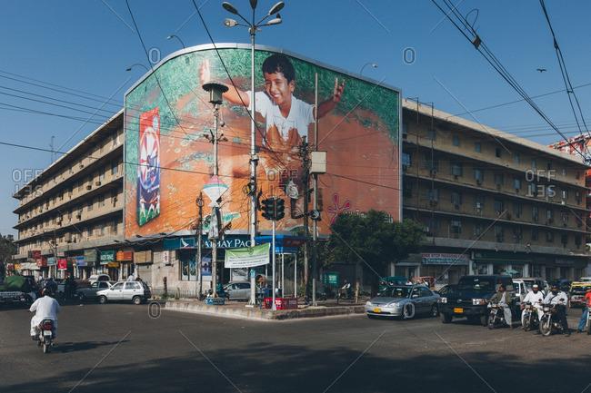 February 3, 2014: Street corner in Karachi, Pakistan