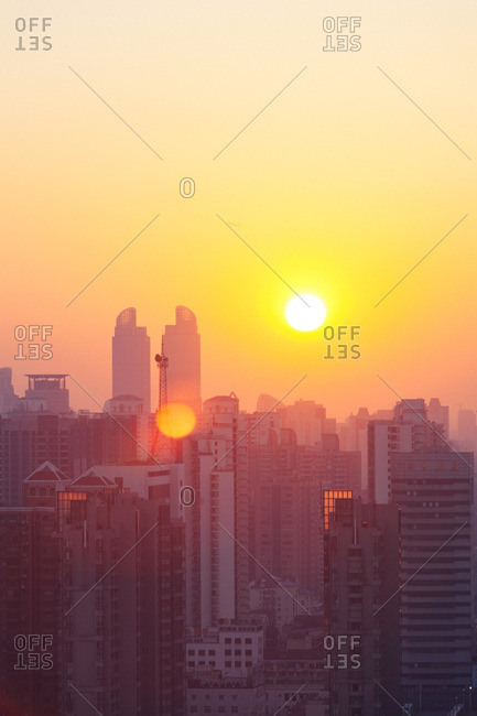 January 23, 2014: Sunset over Shanghai, China