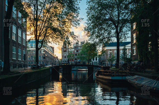September 26, 2015: Sunset over a canal in Amsterdam