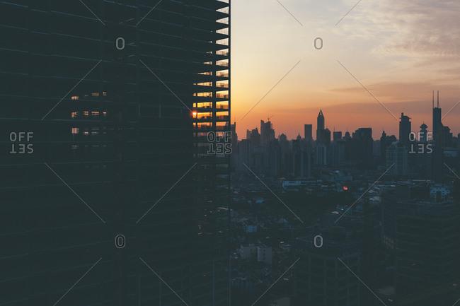 October 1, 2014: Sunset over Shanghai skyline