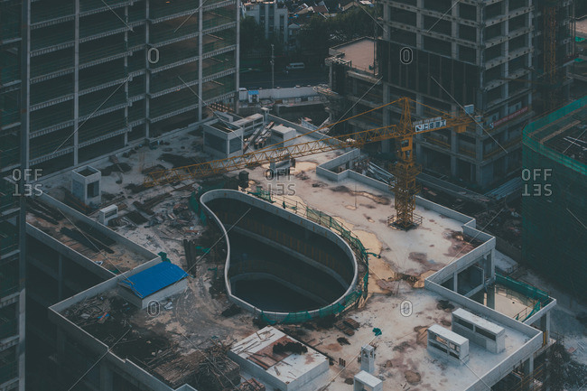 October 1, 2014: Aerial view of a construction site in Shanghai, China
