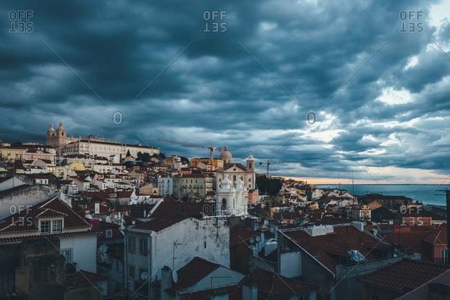 October 21, 2015: Storm clouds over Lisbon, Portugal