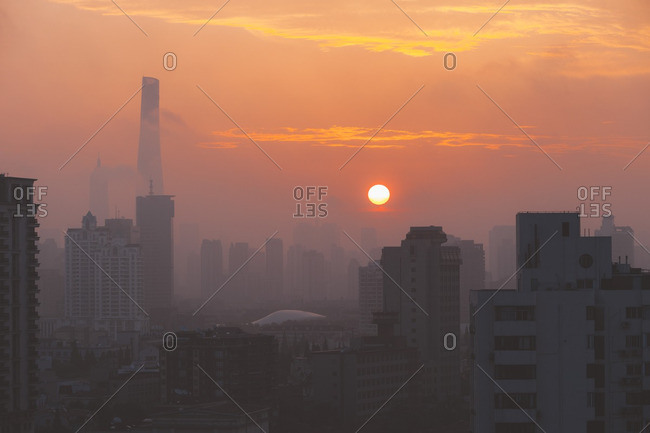 Hazy sunrise over Shanghai, China